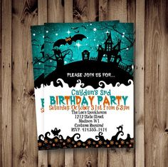 Halloween Birthday Invitations, Holiday Invitations, Graduation Party Invitations, Adult Halloween, Fall Halloween, Halloween Ideas, Haunted House For Kids, Halloween Haunted Houses, Whimsical Halloween