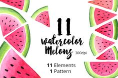 Watercolor Melons by skrich on @creativemarket