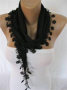 Black Scarf Pashmina Scarf with Trim EdgePashmina by MebaDesign, $13.90
