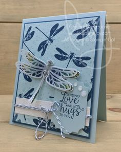 Love & Hugs | Stampin\' Up! | Awesomely Artistic | Dragonfly Dreams | Ribbon of Courage #literallymyjoy #dragonfly #love #hugs #DapperDenim #EmeraldEnvy #LemonLimeTwist #20172018AnnualCatalog