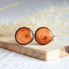 Rustic handmade wooden cuff links - woodland wedding wood cufflinks - anniversary gift for forest lover Wooden Gift Boxes, Wooden Gifts, Wood Boxes, Handmade Wooden, Great Anniversary Gifts, Small Jewelry Box, Woodland Wedding, Brown Paper, Wooden Jewelry