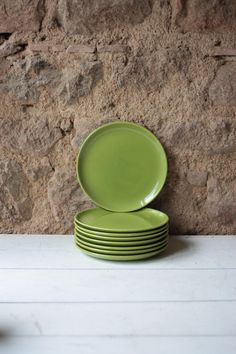 Set of 6 Mid Century Vintage French Green Porcelain Dinner Plates - Longchamp by FarmGateVintage on Etsy