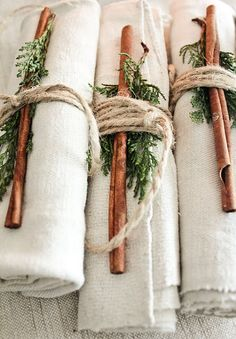 Cinnamon and evergreen napkin ties. Great rustic holiday table setting idea!