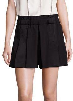 DKNY Wool Gabardine Pleated Shorts