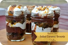 Mason Jar Salted Caramel Brownie Trifles on MyRecipeMagic.com:So easy to prepare, and absolutely decadent! They're portable too, so bring them along on a picnic or gift them to a friend. This is truly our new favorite dessert!