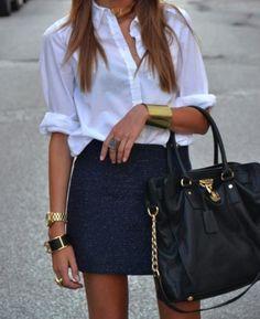 Essentials: White collared top, sparkle mini and black tote :) accessorize well