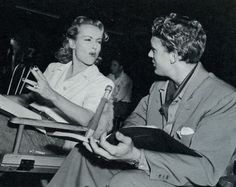 """On the Set - Carole Lombard joking with costar Robert Stack on the set of her final film, """"To Be or Not to Be"""" (1942)."""