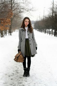 Winter Coat Outfits | cute winter outfits fashion with long grey coat