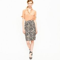 b058b8093d5 J Crew No. 2 Pencil Skirt in Feather Paisley 4 J Crew No. 2 Pencil Skirt in  Feather Paisley. back slit still has factory tacking.