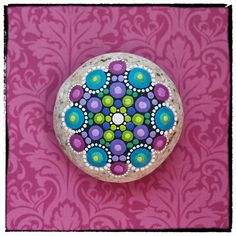 Jewel Drop Mandala Painted Stone Rubies and por ElspethMcLean, $36.00