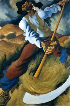 Júlio Pomar (Portuguese, O Gadanheiro [The Mower], Oil on wood chipboard, 122 × 83 cm. Collages, Art Database, Art For Art Sake, Portrait Art, Male Portraits, Art Google, Figurative Art, Lovers Art, Caricature