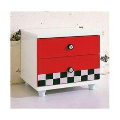 Dětský noční stolek - RACER červeno-bílý KN-101
