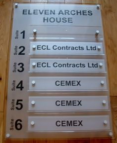 Office directory signs - office wall signs for business directory boards for shared offices http://www.de-signage.com/Officesigns.php