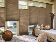 Unsurpassed energy efficiency offers responsible living at its most stylish for this living room. Alustra® Duette® honeycomb shades ♦ Hunter Douglas window treatments