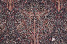 Mood Fabrics : New York Fashion Designer Discount Fabric | HC12702C Slate/Salmon/Oxidized Floral Canvas