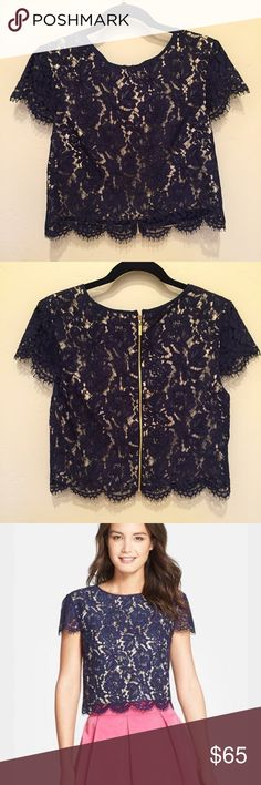 Eliza J Cap Sleeve Lace Crop Top Beautiful navy lace crop top, purchased new and worn only once! Lined in golden cream colored satin. Back features gold tone zipper. Can be dressed up with a satin skirt or dressed down with jeans. Eliza J Tops Crop Tops