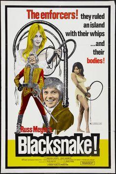 Black Snake ~ (Trident Films Ltd.,) 1973 movie poster via  Sexploitation. Starring Anouska Hempel,  David Warbeck, Percy  Herbert, Thomas Baptiste, and Milton McCollin, and David Prowse.  Directed by Russ Meyer.