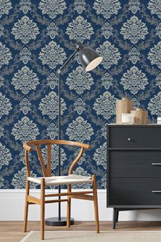Traditional and charismatic; an all over damask pattern that showcases intricate detailing and elegant ambience. Head over to WallpaperDirect today to see the complete collection Damask Wallpaper, Blue Wallpapers, Wishbone Chair, Palazzo, True Colors, Home Art, Traditional, Elegant, Interior