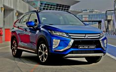 Download wallpapers Mitsubishi Eclipse Cross, 2018, 4k, blue crossover, new blue Eclipse Cross, exterior, front view, Japanese cars, Mitsubishi