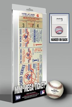 1961 WORLD SERIES MINI-MEGA TICKET - NEW YORK YANKEES by That's My Ticket. Created from an actual game ticket and enlarged approximately 200%. Made of 1/4-inch thick white PVC board. Overall Size: 9.25 (W) x 6 (H) x 0.25 (D). Officially licensed by Major League Baseball. Made in the U.S.A. *Product shown in packaging.