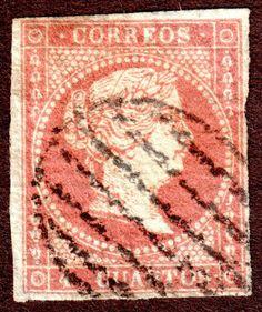 Spain Scott 37 4c Brown Red 1855 Queen Isabella II  used H