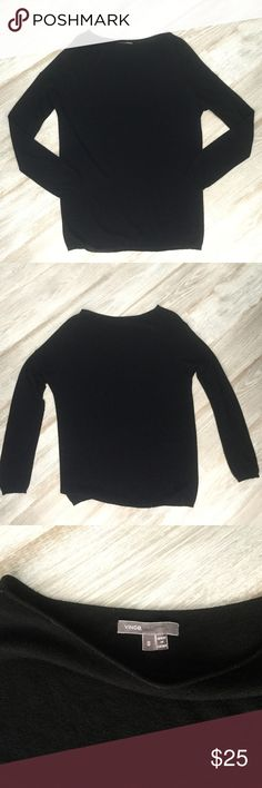 Vince- Black Dolman Crew Neck Sweater! Very lightweight dolman style!  Some pilling throughout due to delicate fabric. Tiny hole shown in pic 4. Vince Sweaters Crew & Scoop Necks
