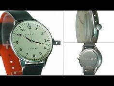 The Blip watch by Newgate Watches. Steel watch with black leather strap.