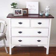 """""""A custom piece for a client. This dresser has been painted Aged White and the top has been stained Walnut #furniturerestoration #recycledfinds…"""""""