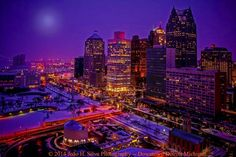 Beautiful - Downtown Detroit all aglow. Thank you to Facebook fan Joao Henriques Silva for the fantastic shot.