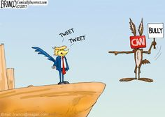 The more CNN Coyote tries to destroy Roadrunner Trump the more CNN only hurts themselves. Political Cartoon by A.F. Branco ©2017