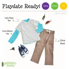 Playing with dinasaurs Bean!   Peekaboo Beans - playwear for kids on the grow!   Find your local Play Stylist or shop On-Vine at www.peekaboobeans.com