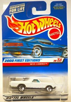 1999 - Mattel / Hot Wheels - 1968 Chevy El Camino (White) - 2000 First Editions : #8 of 36 Cars - 1:64 Scale Die Cast Metal - MOC - Limited Edition - Collectible by Mattel. $8.24. 1999 - Mattel / Hot Wheels - Collector #068 - 1968 Chevrolet El Camino / White / Chrome Engine and Racing Foil - 2000 First Editions - #8 of 36 Cars - 1:64 Scale Die Cast Metal - MOC - Out of Production - New - Limited Edition - Collectible