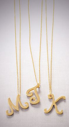 Initial pendant necklaces. Sweet personalized gift.