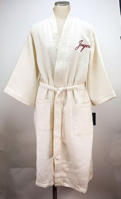 4bae10a932 JOYCE Embroidered Ladies Cream Waffle Robe w Pockets Terry Town Lounge Wear  NEW