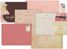 Let Them Eat Cake! Bridal Suite includes invitations, envelopes, postage, and response cards. Additional items can be added by request.