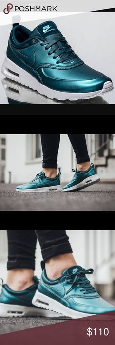BRAND NEW 🔴 Nike Air Max Thea Metallic 🔴 NEW 🔴 without box. Perfect condition. No trades. Accept reasonable offer ONLY. Size 11 in women's. I wear size 10 normally in Nike & these fit pretty good, so a little smaller than normal size 11. Color is a dark teal Metallic. Nike Shoes Sneakers