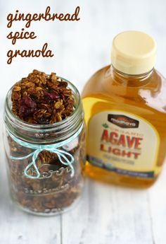 A vegan and gluten free recipe for gingerbread spice granola that is refined sugar free.  #sponsored