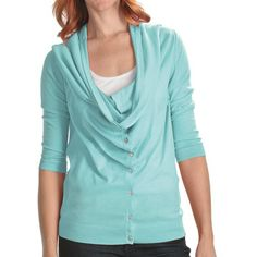 Lilla P Drape Neck Cardigan Sweater - Cotton-Modal, 3/4 Sleeve (For Women) in Ice