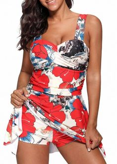 Wide Strap Cutout Back Printed Swimdress and Shorts on sale only US$27.50 now, buy cheap Wide Strap Cutout Back Printed Swimdress and Shorts at Rotita.com