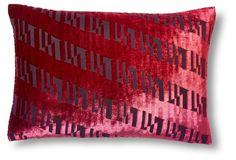 Ogee 14x20 Velvet Pillow, Raspberry