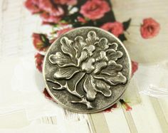 Metal Buttons  Peony Flower Metal Shank Buttons in by Lyanwood, $5.00