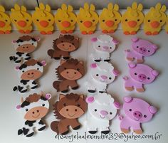 Animalitos de granja en foami Farm Animal Party, Farm Party, Felt Crafts, Diy And Crafts, Crafts For Kids, Farm Birthday, 2nd Birthday Parties, 1st Birthday Decorations, Cowboy Party