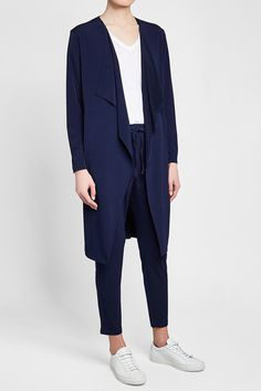 STEFFEN SCHRAUT - Draped Cardigan | STYLEBOP Drape Cardigan, Blue Fashion, Duster Coat, Normcore, Blue Style, Jackets, Shopping, Women, Clothing