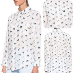 Slim Signature Silk Horse-Print Shirt A sketched horse print lends a hint of whimsy to the classic quintessential Equipment silhouette of this sophisticated silk shirt. Point collar & long sleeves. Button cuffs. 2 front flap pockets. Shirttail hem. Back yoke. Back pleat. 100% silk. Dry clean only Equipment Tops Button Down Shirts