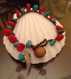 Turquoise and Coral Crocheted Bracelet by LotusBlossomJewellry, $38.00