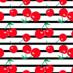 Cherries on stripes fabric by littlearrowdesign on Spoonflower - custom fabric