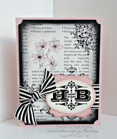 """Stamps: Engraved Greetings & Bliss. Ink: VersaMark, Basic Black, Pink Pirouette, and Pear Pizzazz. Paper: Pink Pirouette, Basic Black, Very Vanilla, First Edition Specialty DSP. Tools: Big Shot, Ovals Die, Heat Tool, Black EP, Blender Pens, Sponge Daubers & Decorative Label Punch. Accessories: Basic Black 1-1/4"""" Striped Grosgrain Ribbon and Stampin' Dimensionals."""