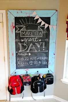 DIY Chalkboard Frame and Backpack Station. #backtoschool