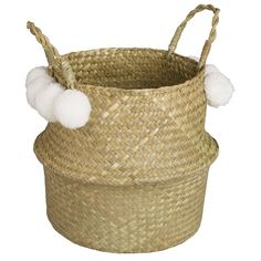 SO BLUSH - Woven Belly Basket with White Pom poms