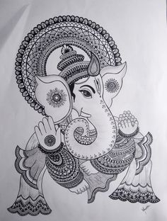 Doodle Art Drawing, Zentangle Drawings, Zen Doodle, Oil Pastel Drawings, Art Drawings Sketches, Outline Drawings, Ganesha Art, Ganesha Drawing, Ganesha Painting
